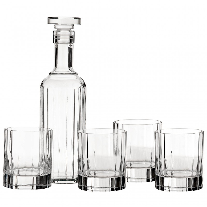 Juego de 4 vasos para whisky y botella Bach Bormioli