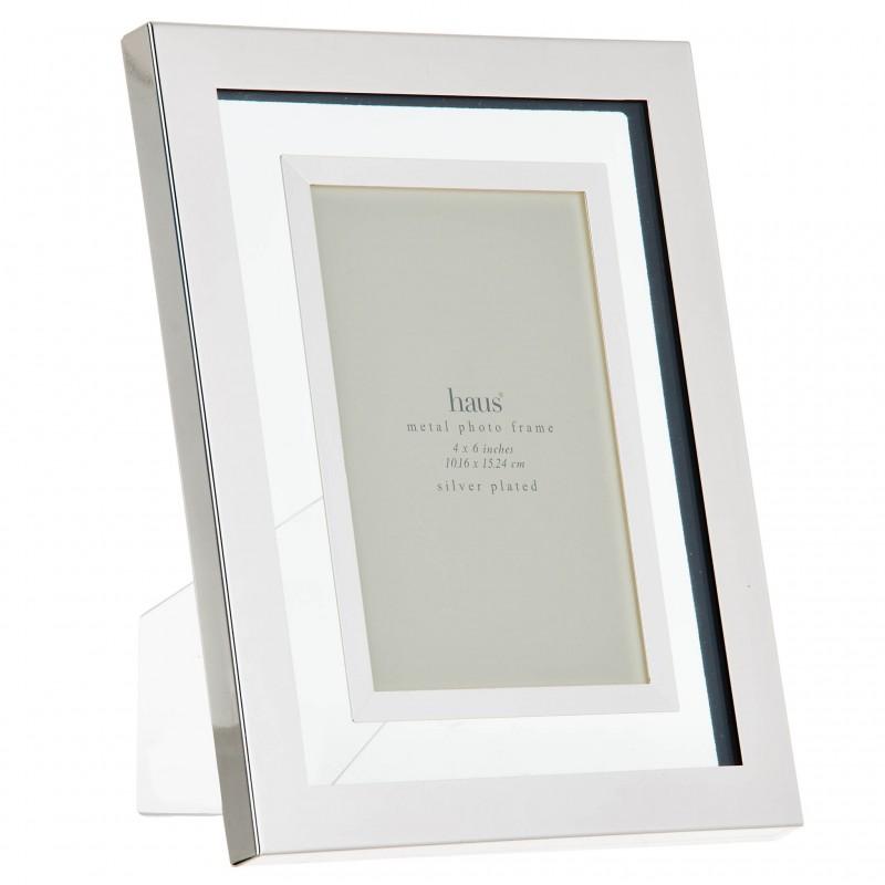 Portarretrato con marco de metal y vidrio Silver Haus