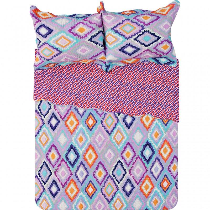 Juego cubrecama Quilt Multi Rombos Navajo 100% algodón Haus