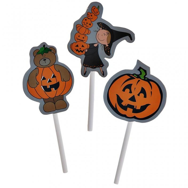 Juego de 12 pinchos para cupcake Surtido Halloween