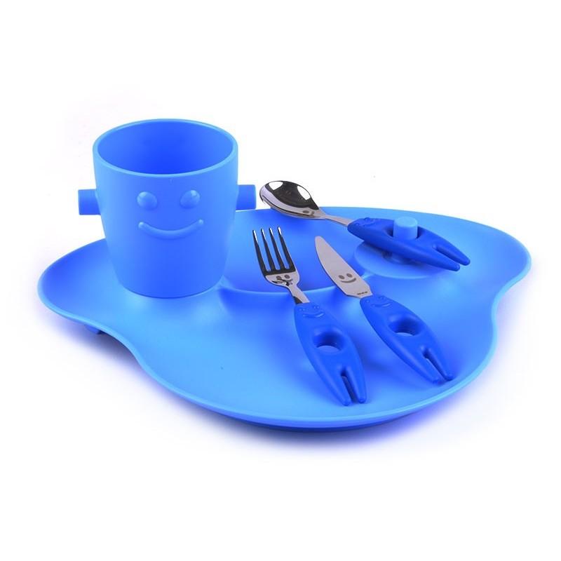 Juego de cubiertos con plato y vaso Infantil Rivadossi