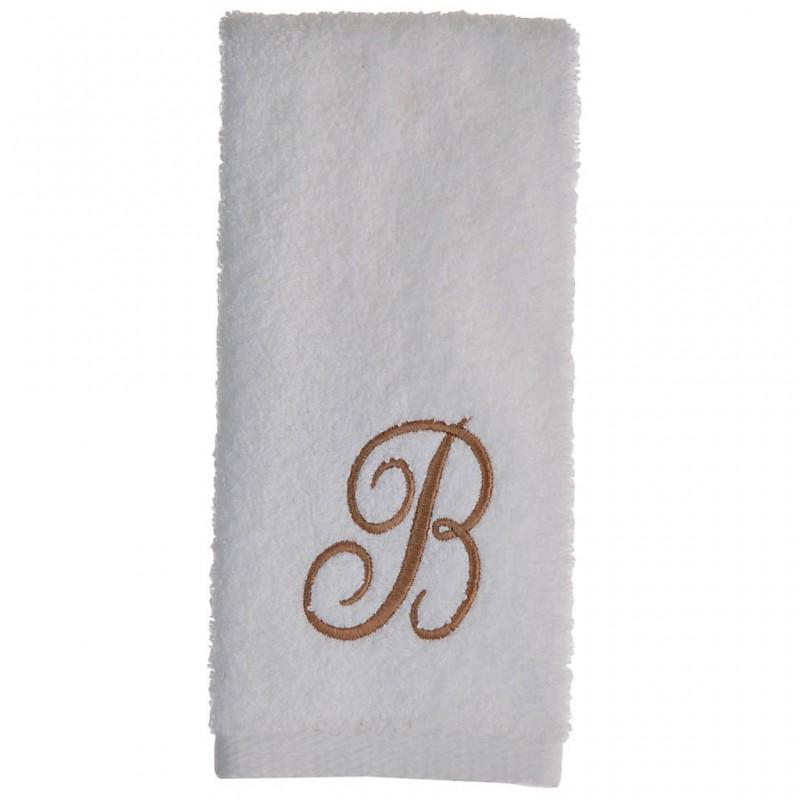 Toalla de tocador 47x30 cm White Fingertip Monogram Letra B 100% algodón Avanti
