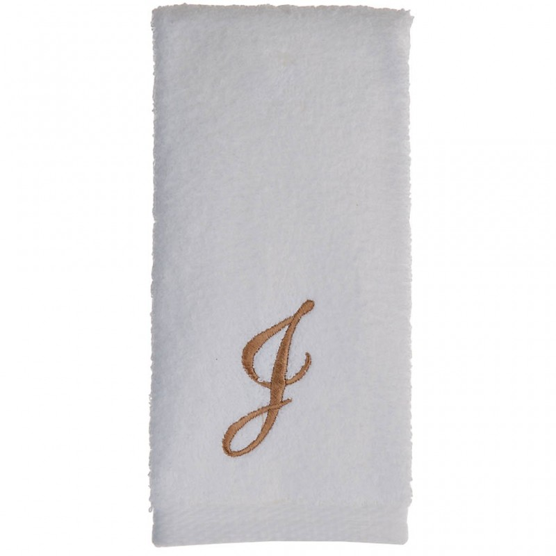 Toalla de tocador 47x30 cm White Fingertip Monogram Letra J 100% algodón Avanti