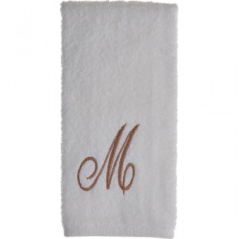 Toalla de tocador 47x30 cm White Fingertip Monogram Letra M 100% algodón Avanti