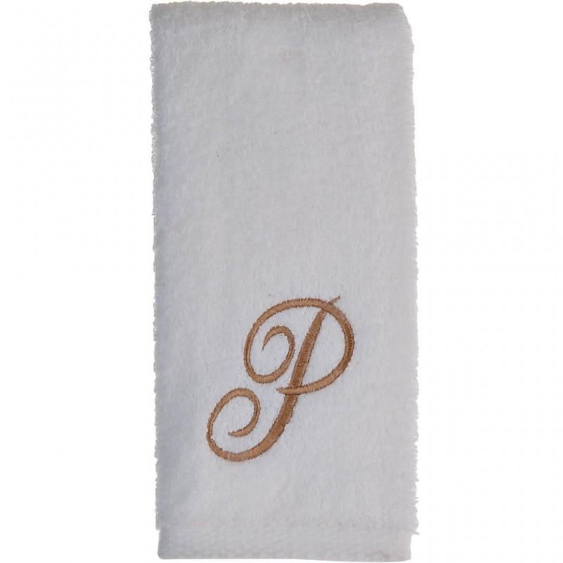 Toalla de tocador 47x30 cm White Fingertip Monogram Letra P 100% algodón Avanti
