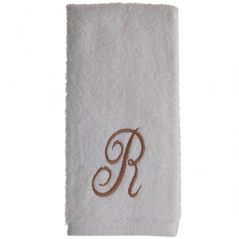 Toalla de tocador 47x30 cm White Fingertip Monogram Letra R 100% algodón Avanti
