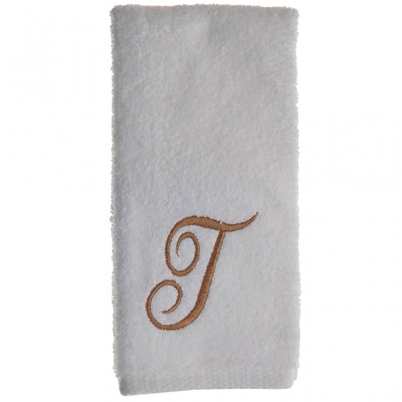 Toalla de tocador 47x30 cm White Fingertip Monogram Letra T 100% algodón Avanti