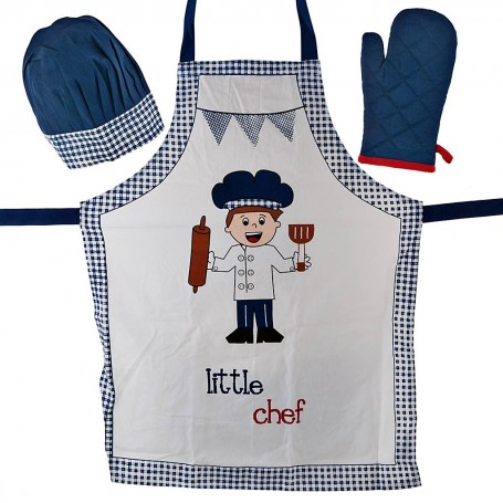 Juego de delantal, guante y sombrero Chef Niño Haus