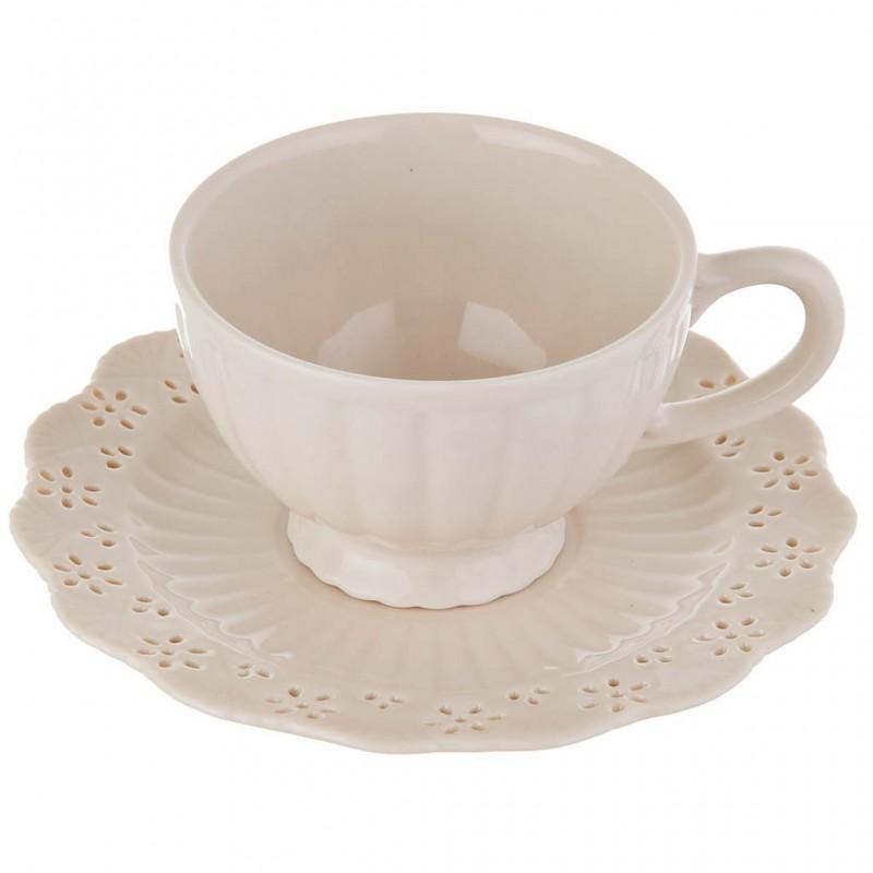 Juego de taza y plato Borde Calado Haus