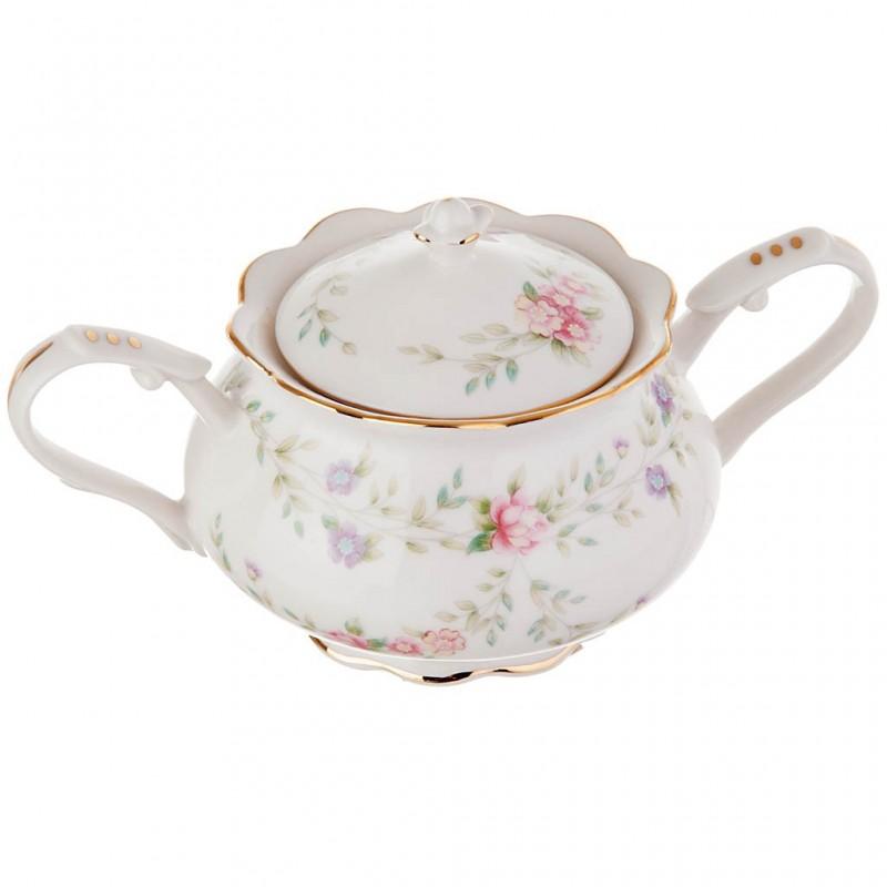 Azucarera con tapa / asas Flores Pastel porcelana Haus