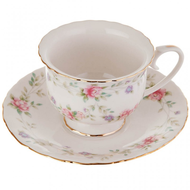 Taza con plato para té Flores Pastel porcelana Haus