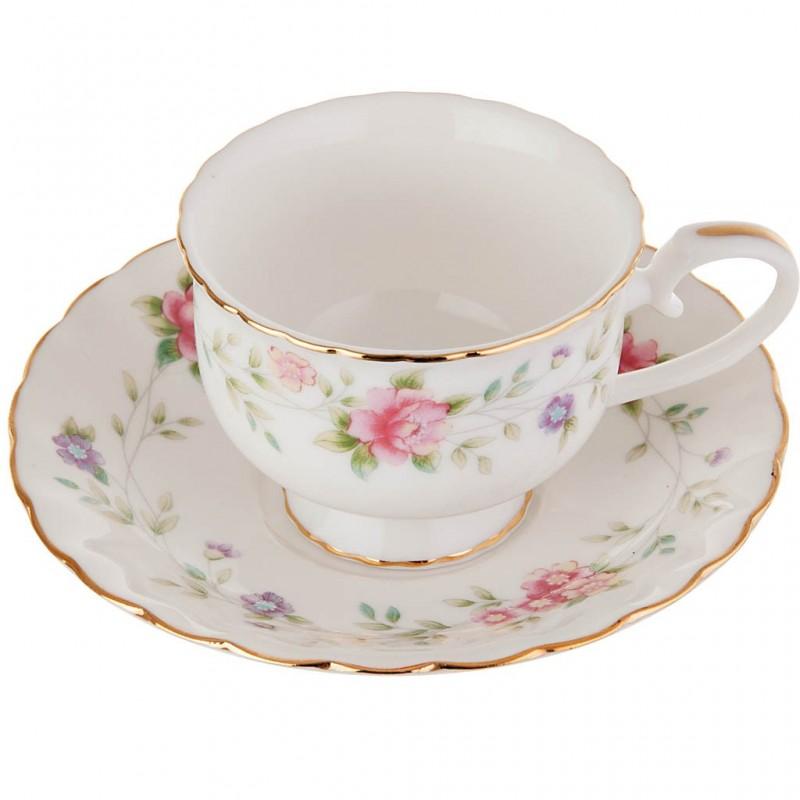 Taza con plato para tinto Flores Pastel porcelana Haus