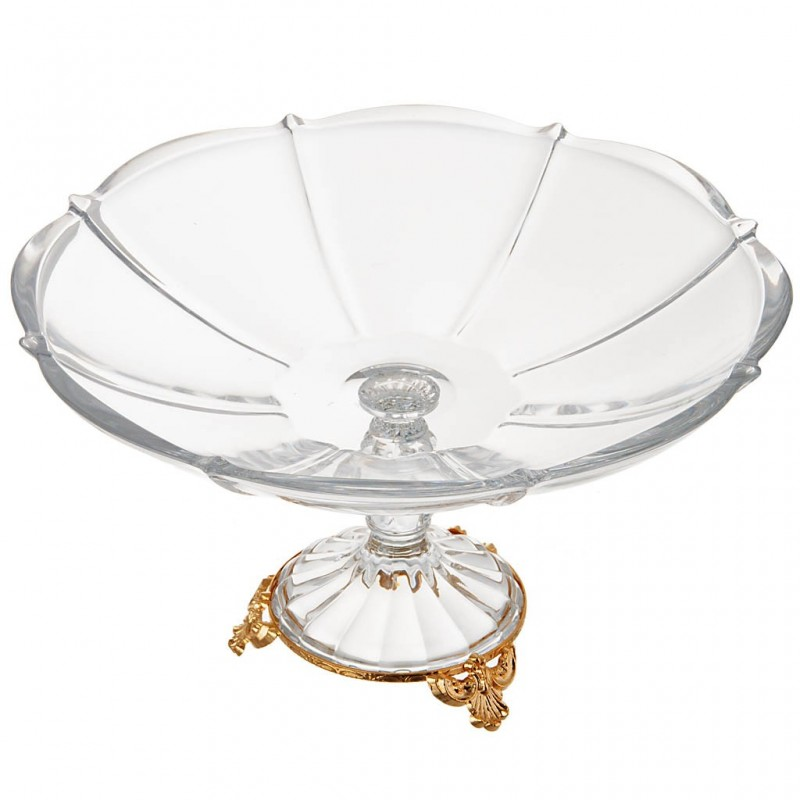 Frutero con pie Venus cristal / baño de oro Cre Art