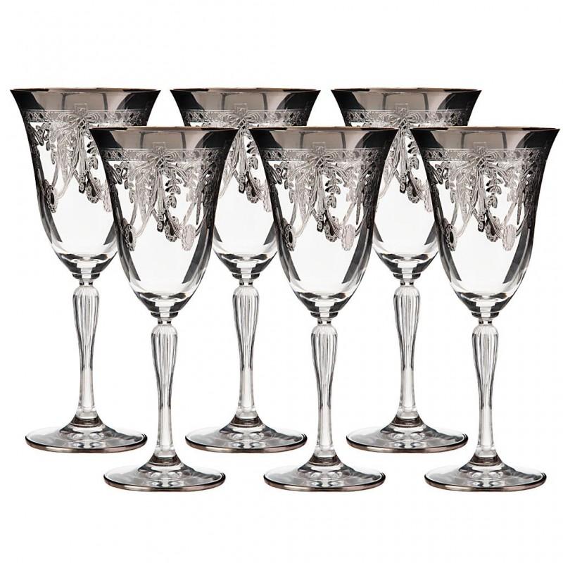 Juego de 6 copas para agua Belvedere cristal / baño de plata Cre Art