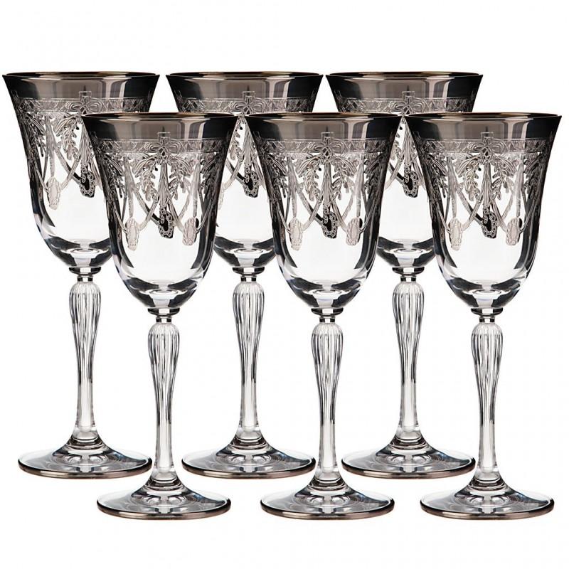 Juego de 6 copas para vino Belvedere cristal / baño de plata Cre Art