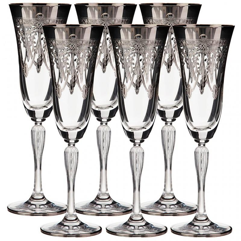 Juego de 6 copas para champagne Belvedere cristal / baño de plata Cre Art