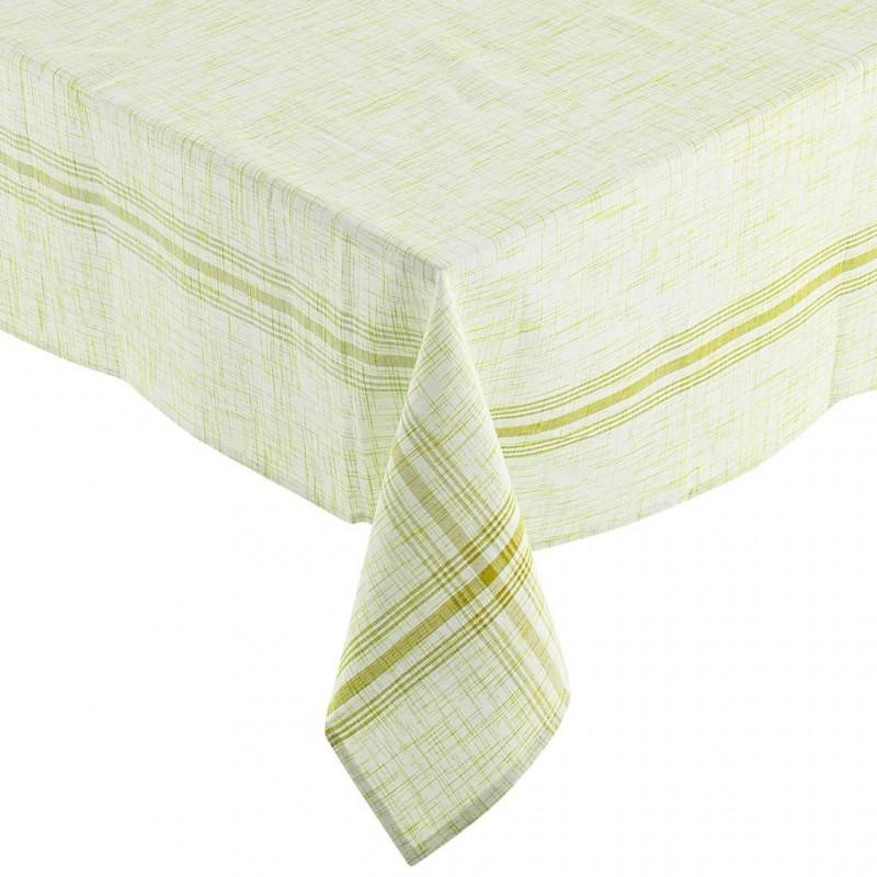 Mantel rectangular para 10-12 puestos Rayas Jaspeado algodón verde Haus