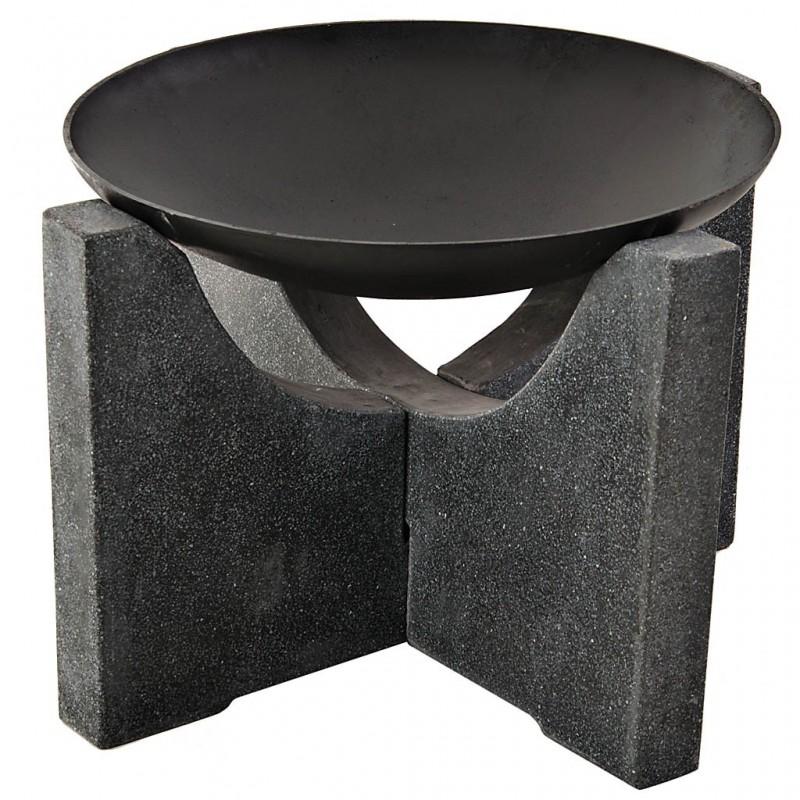 Chimenea para exterior con base cruz hierro / piedra