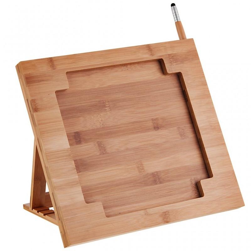 Soporte bambú para tablet con organizador de cuchillos / stylus