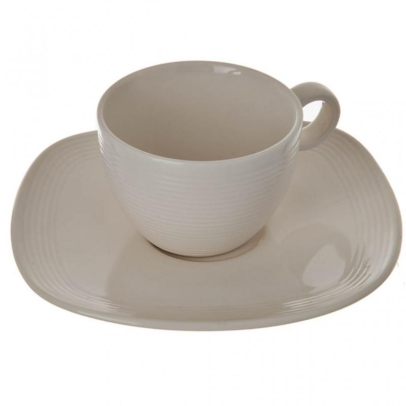 Juego de plato y taza para espresso White Linen