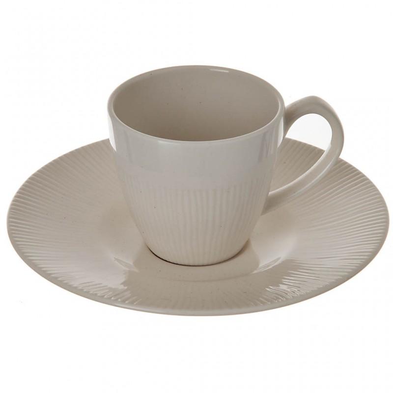 Juego de plato y taza para espresso Neo Silk White