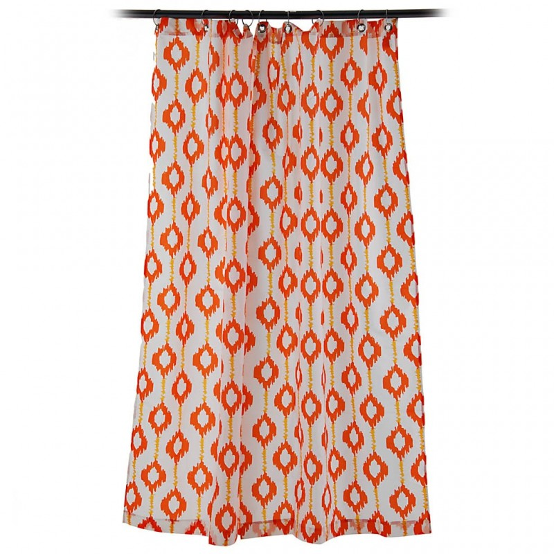 Cortina de baño Naranja / Amarillo 80% poliéster - 20% algodón Haus
