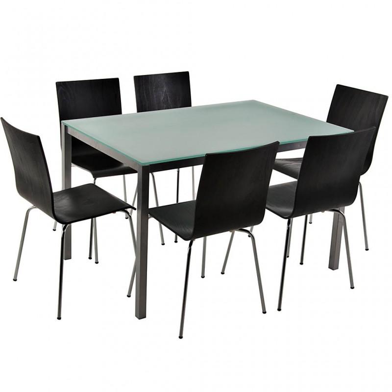 Comedor de 6 puestos con mesa de vidrio