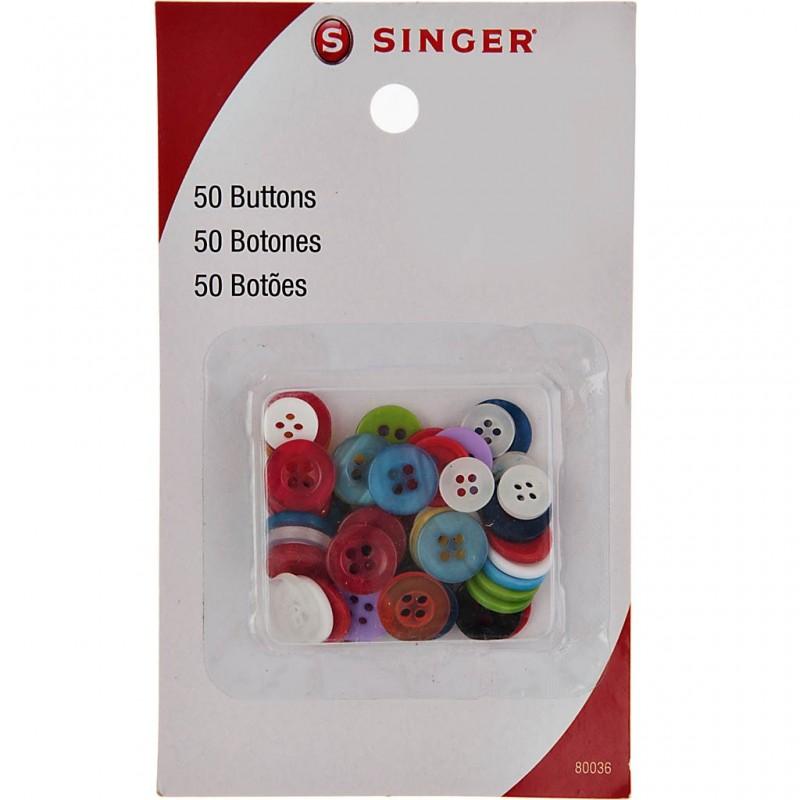 Juego de 50 botones Multiciolor Singer