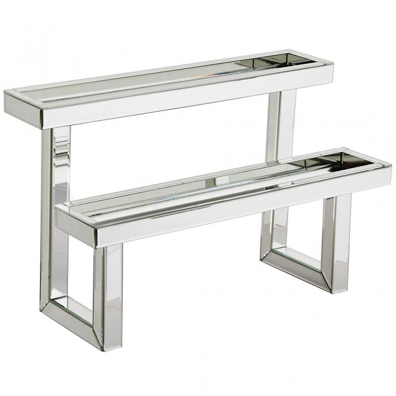 Base decorativa 2 niveles espejo / metal Haus
