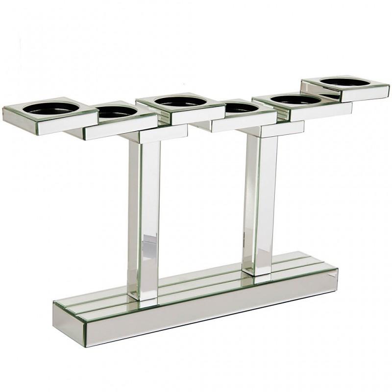 Candelabro con base 6 velas espejo / vidrio / metal Haus
