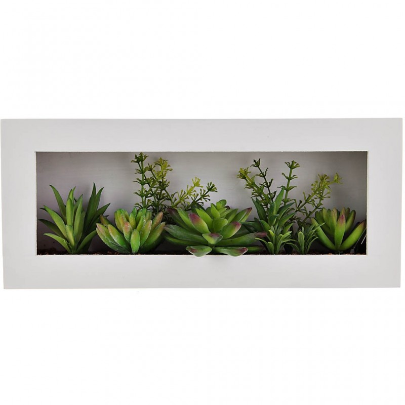 Cuadro con plantas plastico / madera
