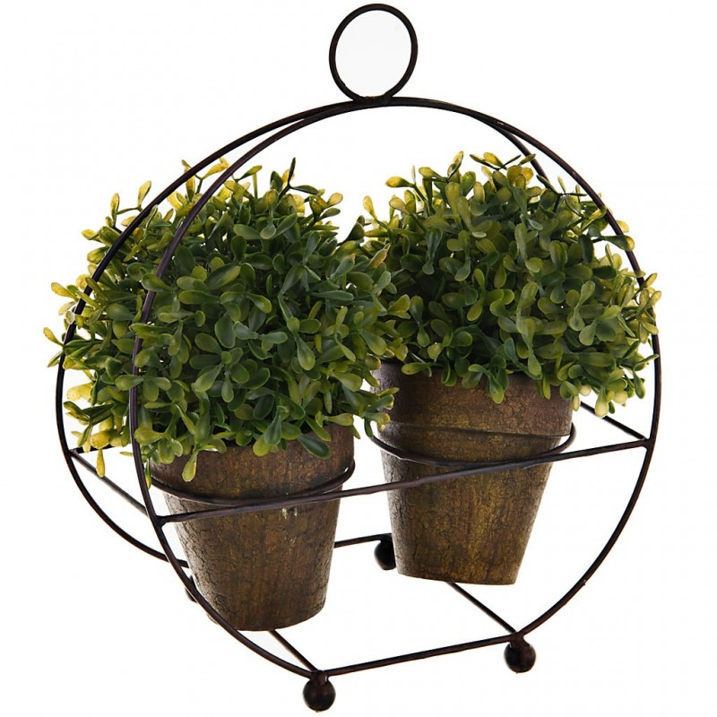 Planta con soporte 2 maceteros plástico / papel / hierro
