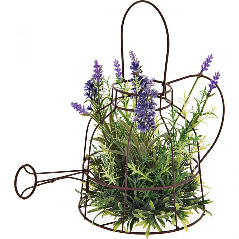 Planta con flores y maceta regadera plástico / espuma