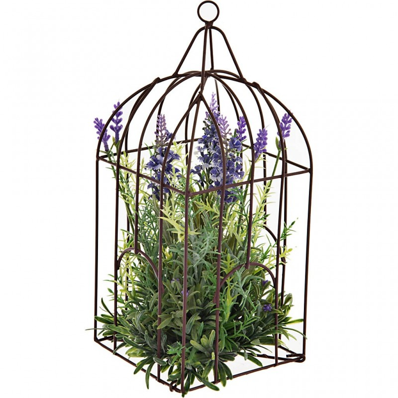 Planta con flores y maceta jaula plástico / espuma / hierro