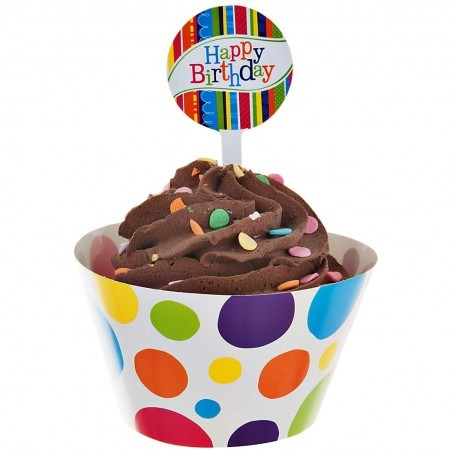 Cenefa con pincho para cupcake Bright and Bold Happy Birthday 24 piezas Creative Converting