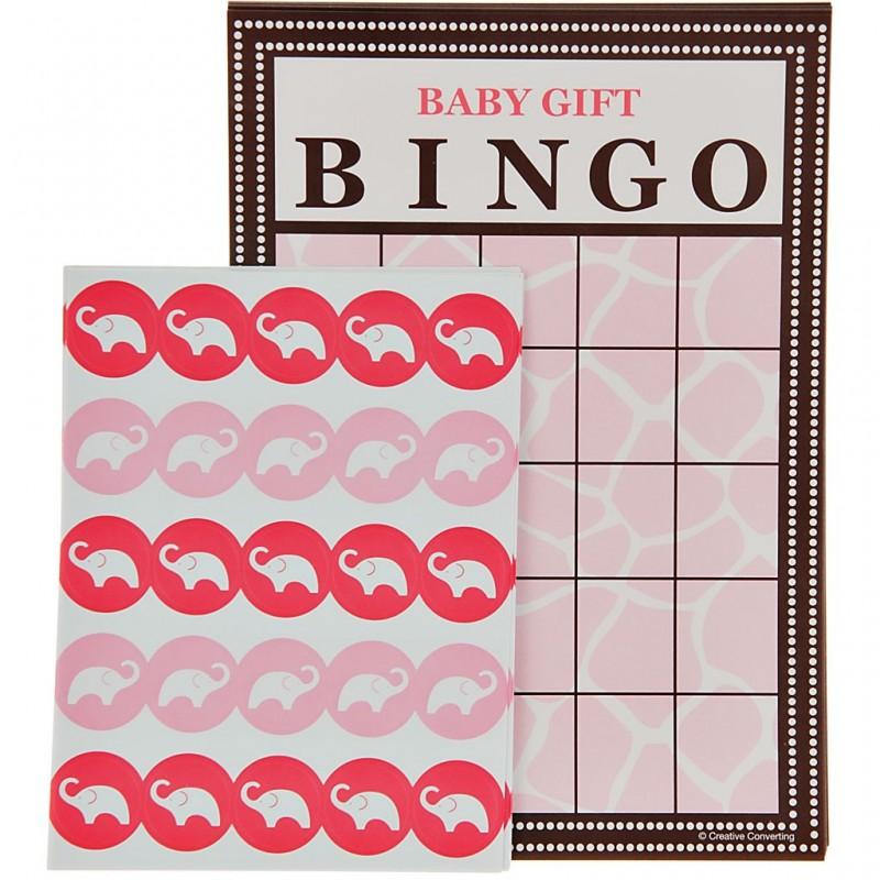 Juego de 10 bingo con stickers Rosado Wild Safari Creative Converting