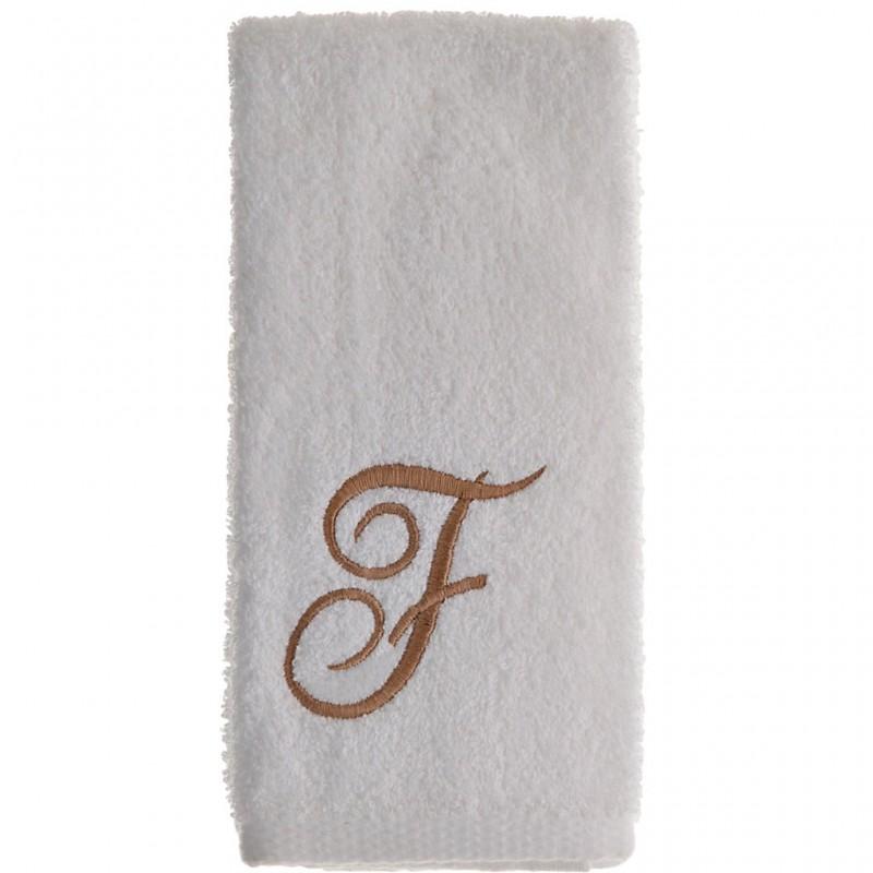 Toalla de tocador 47x30 cm White Fingertip Monogram Letra F 100% algodón Avanti