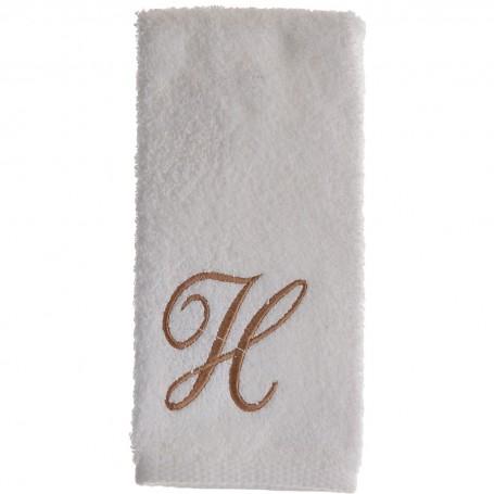Toalla de tocador 47x30 cm White Fingertip Monogram Letra H 100% algodón Avanti