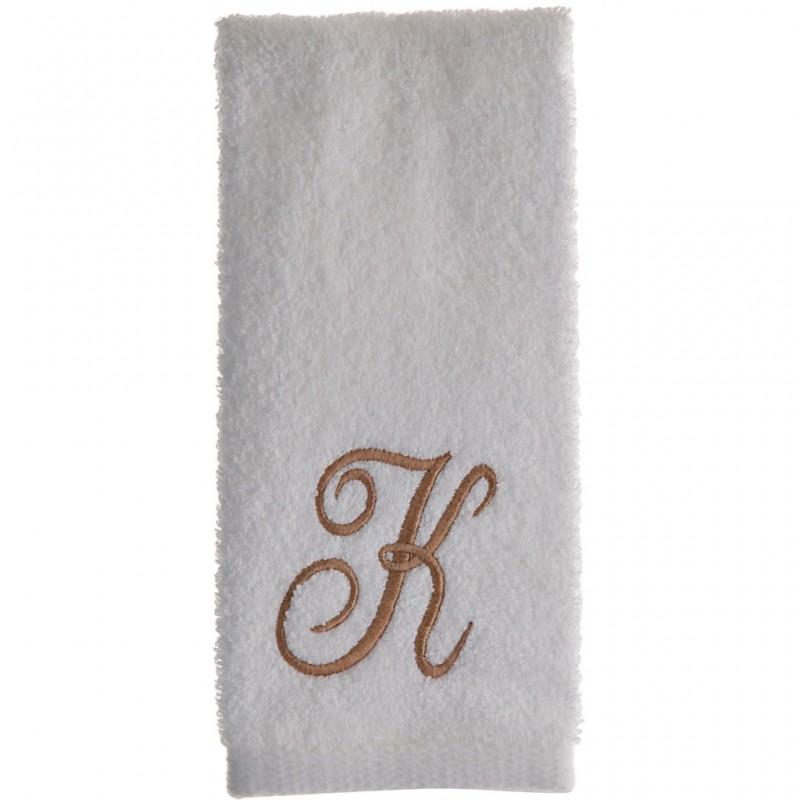 Toalla de tocador 47x30 cm White Fingertip Monogram Letra K 100% algodón Avanti