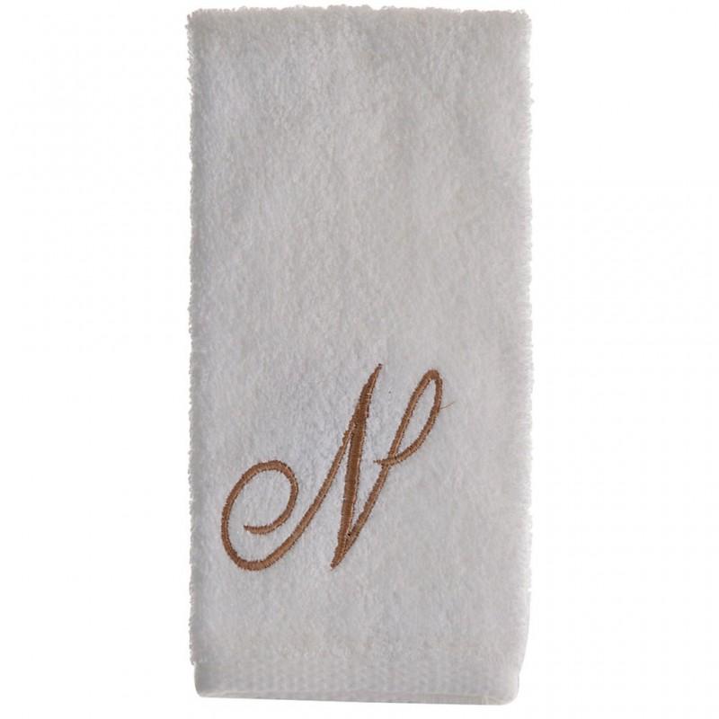 Toalla de tocador 47x30 cm White Fingertip Monogram Letra N 100% algodón Avanti