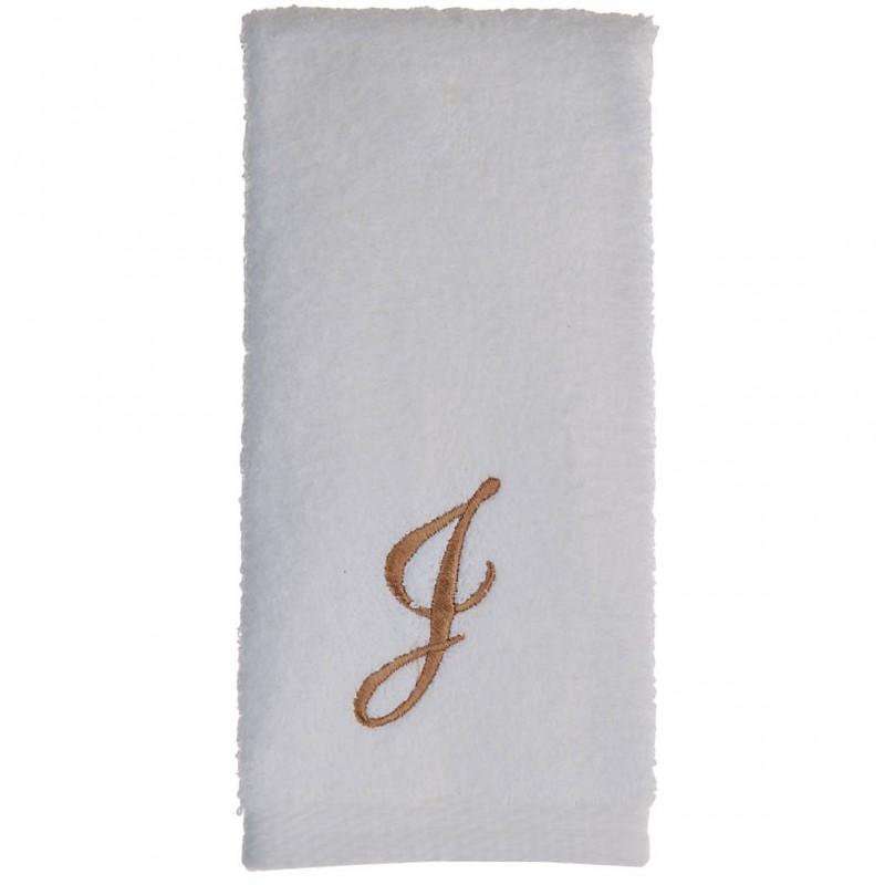 Toalla de tocador 47x30 cm White Fingertip Monogram Letra W 100% algodón Avanti