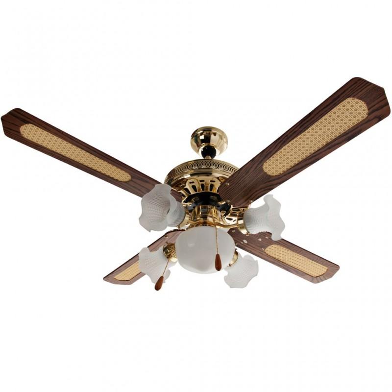 """Ventilador de techo 4 aspas / 5 focos decorativos 120 V / 75 W 52\"""""""