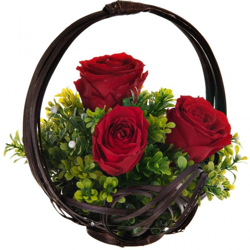 Arreglo floral eternizado con canasta