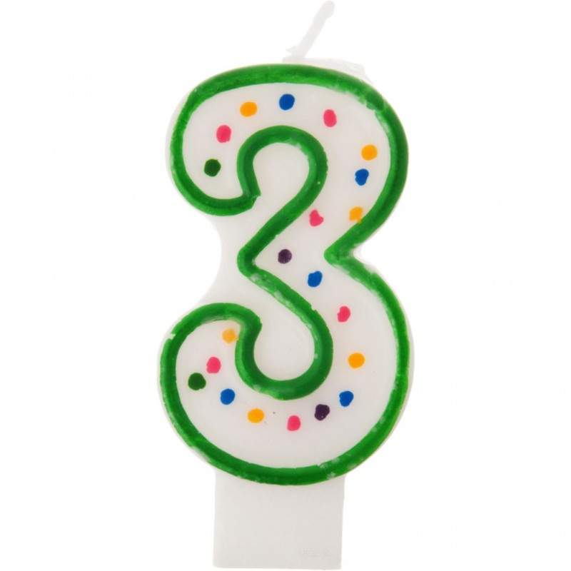 Vela cumpleaños número 3 Borde Verde Puntos Wilton