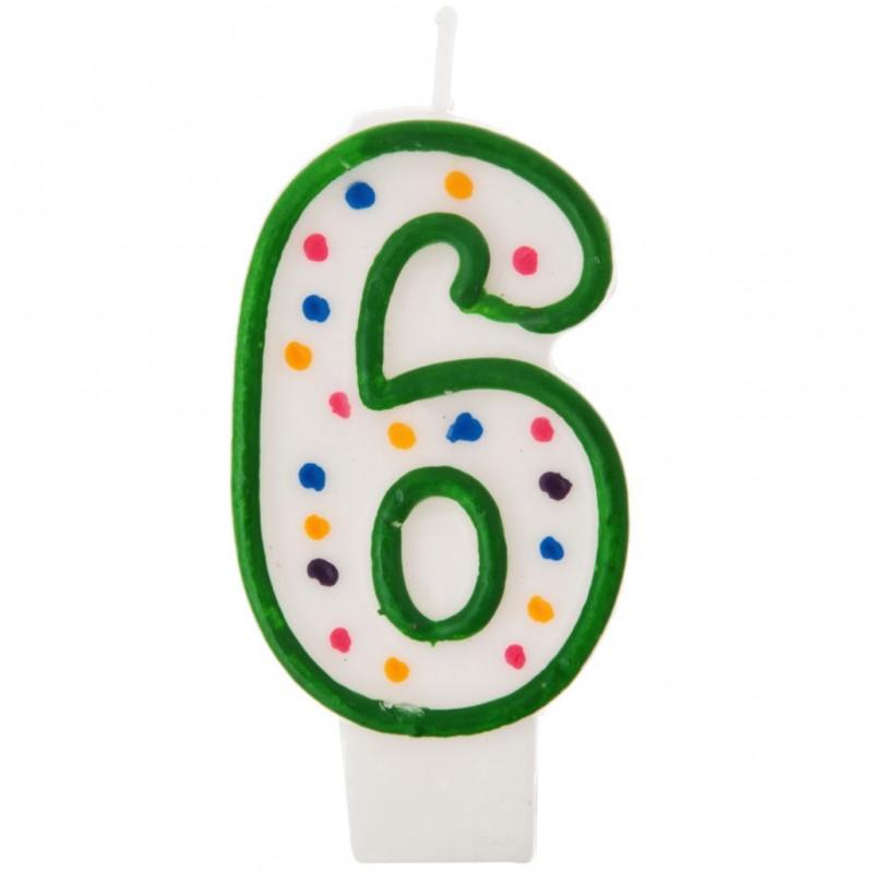 Vela cumpleaños número 6 Borde Verde Puntos Wilton