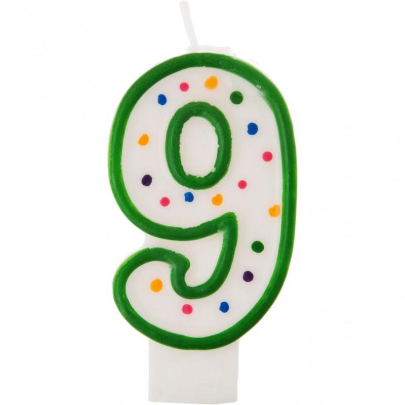 Vela cumpleaños número 9 Borde Verde Puntos Wilton