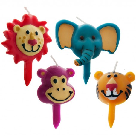 Juego de 4 velas Multicolor Animales Jungla Wilton