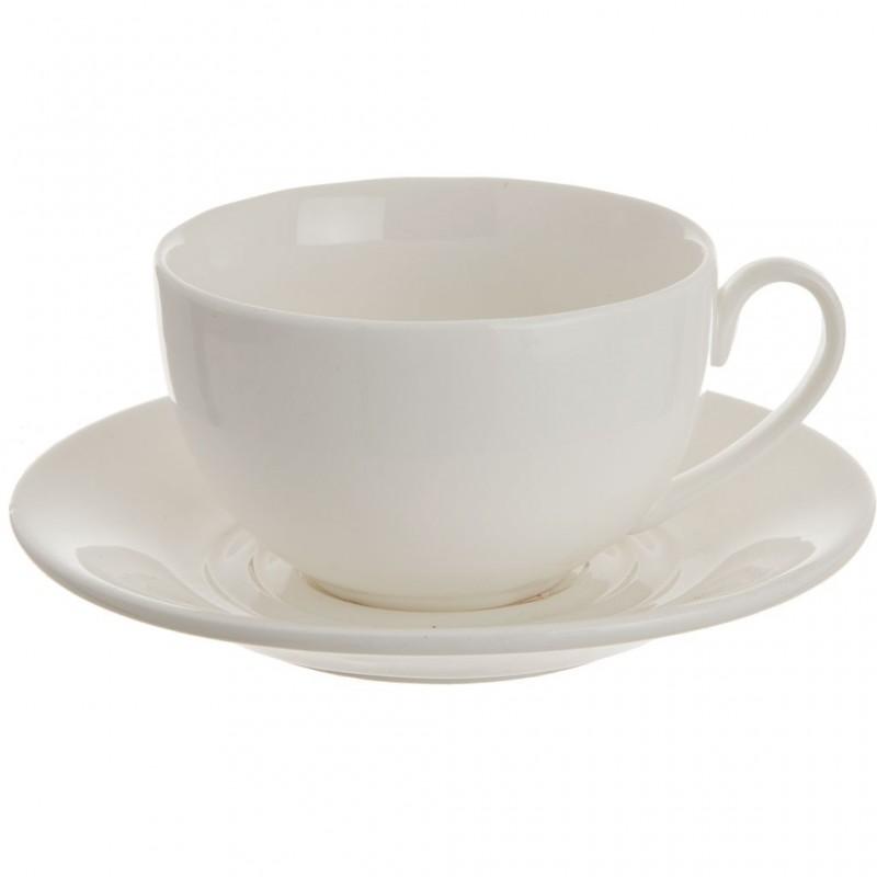 Juego de taza y plato para té porcelana Wilmax