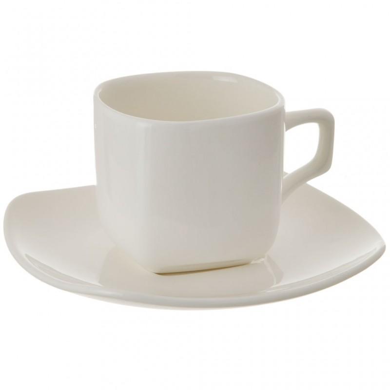 Juego de taza y plato cuadrados para té porcelana Wilmax