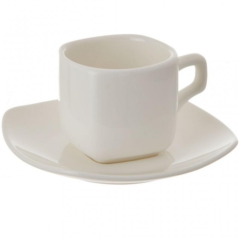 Juego de taza y plato cuadrados para tinto porcelana Wilmax